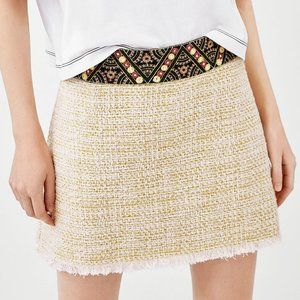 NWT Zara Embellished Waistband Tweed Mini Skirt XS